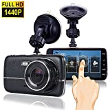 Dash Cam, Car Dash Camera for cars Vehicle Full HD 1440P Touch Screen, Dashboard Camera Car Video Recorder,Wide Angle 170° Lens (1) … (black)