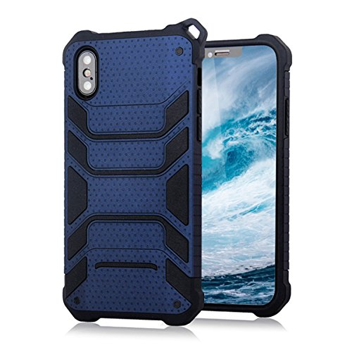 For iPhone X Case/ iPhone 10 Case,BKING-BOX [Spider Series]Ultra Slim Armor Shockproof Case with Dual Layer Heavy Duty Protection with Lanyard Hole for iPhone X 10 (2017) (Navy (Lanyard Hole)