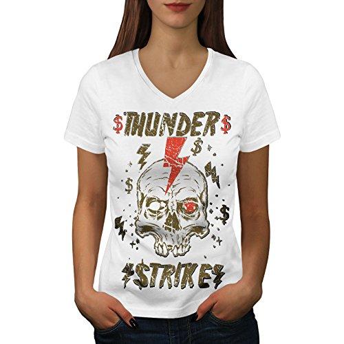 edf976057 Wellcoda Thunder Strike Dead Womens V-Neck T-Shirt, Lightning Printed  Design Tee