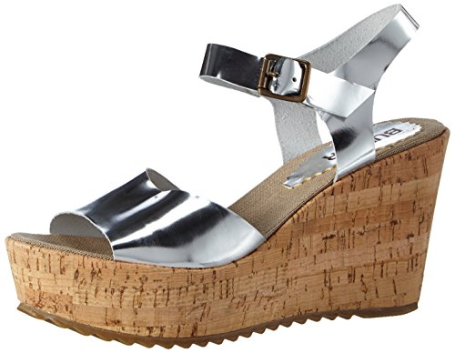 Silver Heel Wedge Silver Open Women's Silber Sandal Bunker Sandals C8Rq68