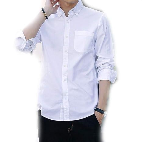 Sangni Camisa Delgada de Manga Larga para Hombre, Blanca, 5XL: Amazon.es: Ropa y accesorios