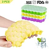 Farielyn-X Ice Cube Trays,3 Pack Food Grade Silicone Rubber Flexible and BPA Free 111 Cubes Ice Trays with Lid Stackable Easy Release Mini Cocktail Whiskey Ice Cube Mold Storage Containers(Multicolor)