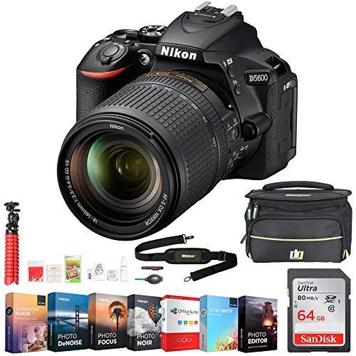 Nikon D5600 24.2MP DX-Format DSLR Camera w/AF-S 18-140mm f/3.5-5.6G ED VR Lens +Accessory Bundle Includes, Deco Gear Camera Bag (Medium) w/Accessory Kit, 64GB Memory Card & Professional Editing Suite