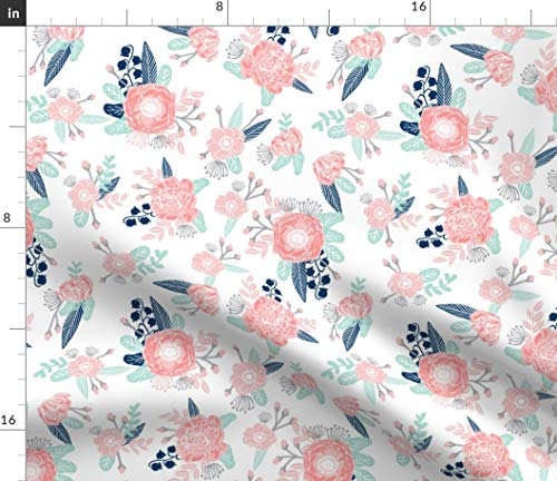 Pastel Posy Fabric - Flower Baby Girl Cute Fabric Petals Leaves Mint Florals Nursery Blossom Blooming Print on Fabric by The Yard - Basketweave Cotton Canvas for Upholstery Home Decor Bottomweight