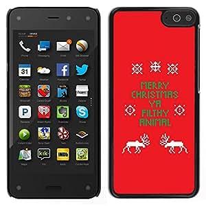 // PHONE CASE GIFT // Duro Estuche protector PC Cáscara Plástico Carcasa Funda Hard Protective Case for Amazon Fire Phone / Christmas Funny Text Red X-Mas /