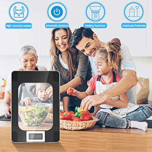 MomMed Food Scale, Digital Kitchen Scale with Highly Sensitive LCD Display for the Exact Gram Size - Professional 33lbs/15KG Baking & Cooling Scale with Large Weighing Surface & Modern Design,1g/0.1oz