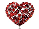 Alilang Ruby Red Colored Crystal Rhinestone Heart Love Silvery Tone Brooch Pin