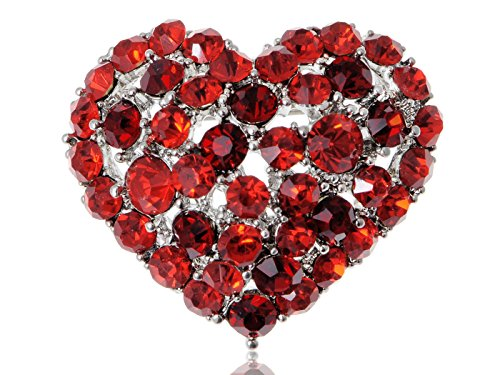 Alilang Ruby Red Colored Crystal Rhinestone Heart Love Silvery Tone Brooch Pin (Heart Rhinestone Pin)