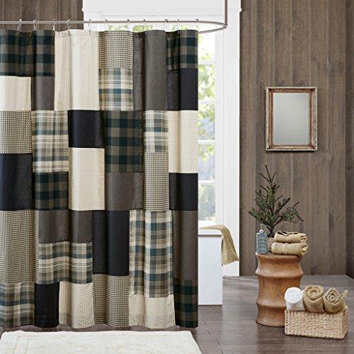 Bed Plaid Curtain (JLA Home INC Winter Hills Cotton Shower Curtain, Plaid Lodge/Cabin Shower Curtains for Bathroom, 72 X 72, Tan)
