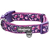"Blueberry Pet 6 Patterns Soft & Comfy Rose Print Plum Purple Padded Dog Collar, Large, Neck 18""-26"", Adjustable Collars for Dogs"