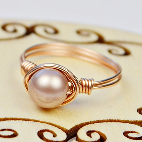 Pearl Rose Ring (8mm Almond Swarovski Crystal Pearl Bead and Rose Gold Filled Wire Wrapped Ring- Custom made to size 4 -14)