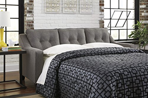 Benchcraft Brindon Contemporary Sofa Sleeper – Queen Size Mattress and Throw Pillows Included – Charcoal