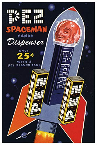 American Gift Services - PEZ Spaceman Candy Dispenser Poster Vintage Science Fiction and Fantasy Sci Fi Art Poster - 24x36