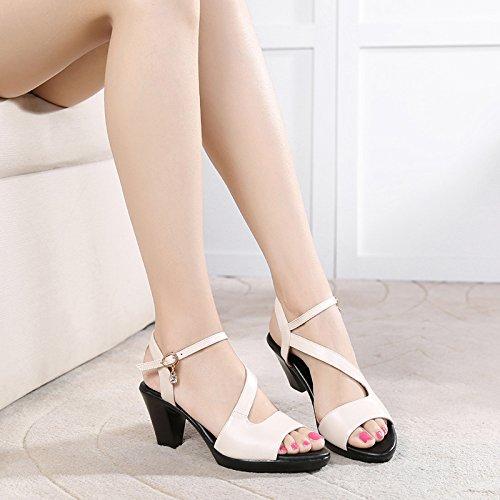 De Women Gruesos Sandalias Los Tacon Cm Tacones white Tacón Verano Mamá Middle Medio Boca GTVERNH Alto Shoes 'S Aged Peces 6 qY8t4wT