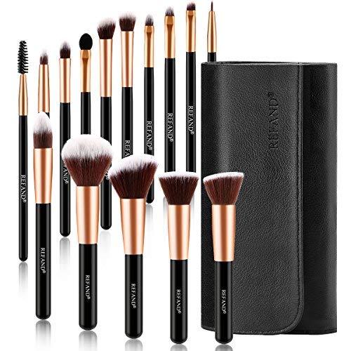 Refand Makeup Brushes, 15pcs Face Brushes Cosmetics Kabuki Foundation Powder Concealers