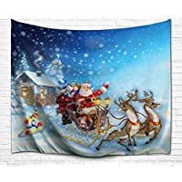 Goodbath Christmas Tapestry Xmas Santa Claus Sled Tapestries Fabric Wall Hanging for Bedroom Living Room Dorm, 80 x 60 Inch, Colorful