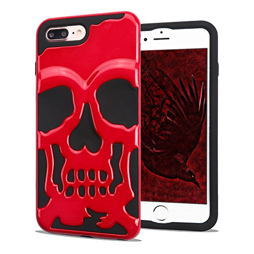 (JoJoGoldStar iPhone 7 Plus Case, iPhone 8 Plus Case, Skull Hybrid, Heavy Duty Polycarbonate and Silicone TPU Hard Cover -)