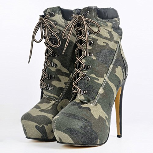 Kolnoo Womens 14.5cm Almond Toe Denim Detail Lace-up High Heel Ankle Boots Party Shoes Green mRALhq