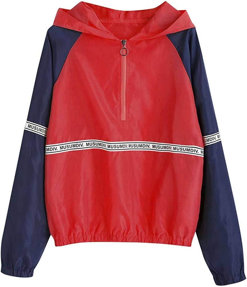 Women Women Hoodies Jumper Sweater Long Sleeve Half Zipper Front Pullover Patchwork Sweatshirt Top