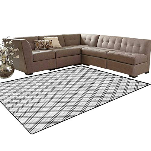 Plaid,Rug,Monochromatic Diagonal Pattern with Checks and Stripes Dashed Lines Celtic Classic,Dining Room Home Bedroom Carpet Floor Mat,Black White Size:5'x6' ()