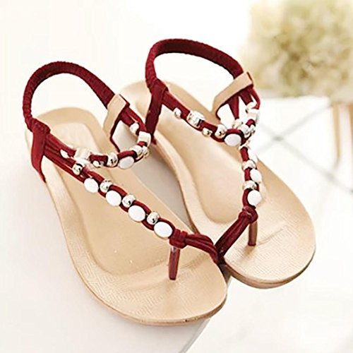 Bovake Summer Women Sandals, | Bohemia Leisure Peep-Toe Flat Shoes | Heels Women Ankle Shoes Flat Wedges Shoes Lovely Footwear Flip Flop Sandal | No Rubbing | Foot Toes Comfortable To Wear Red