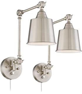 mendes brushed steel swing arm wall lamp set of 2 brass swing arm wall lamp