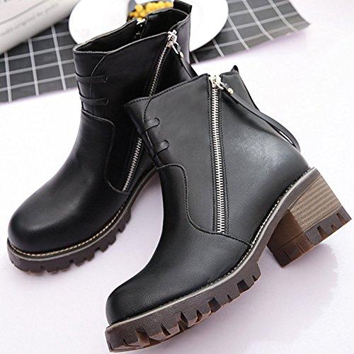 Tacón corto con tacón y botas desnudas black