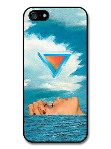 Cool Collage of Weird Woman in Sea with Triangle and Blue Sky Design case for iPhone 5 5S