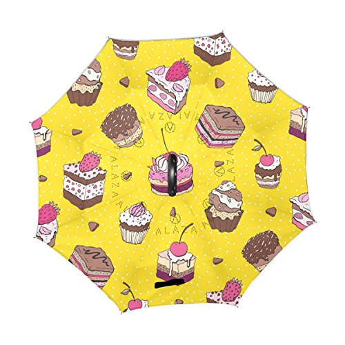 ALAZA U LIFE Cute Birthday Cake Dessert Yellow Polka Dots Reverse Inverted Umbrellas Reversible Sun Rain Umbrella for Car Outdoor Use With C-shaped Handle