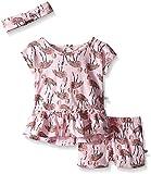 Rosie Pope Little Girls 3 Piece Flamingo Shirt, Short, and Matching Headband Set, Sachet Pink, 18 Months