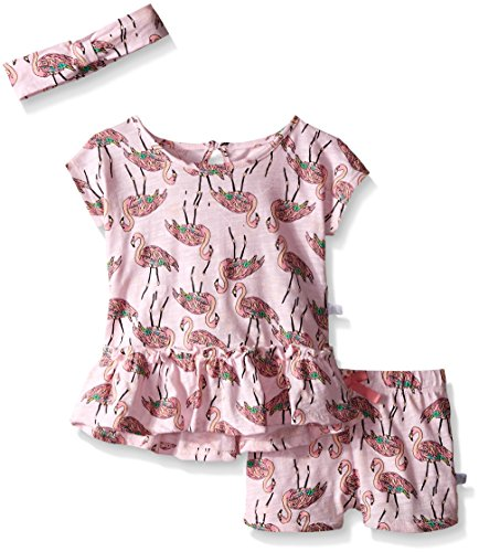 Rosie Pope Little Girls 3 Piece Flamingo Shirt, Short, and Matching Headband Set, Sachet Pink, 18 Months