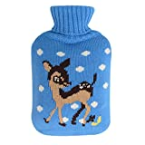 HomeIdeas 2 Liter Full Size Hot Water Bottle Knitted Cover- Only Cover (Blue with Deers)