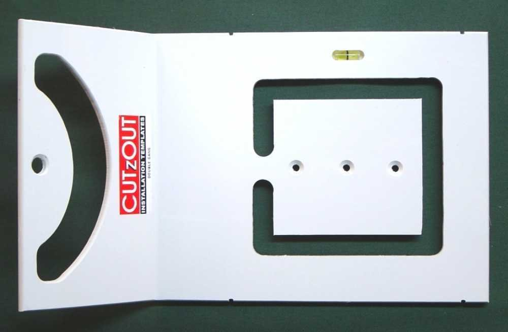 CUTzOUT Single and Double Gang New & Old Work Electrical Box and Low Voltage Box & Bracket Drywall Hole Cutter Templates with Attachment for Spiral Saws, Cut Out, and Rotary Tools by CUTzOUT Installation Templates (Image #4)