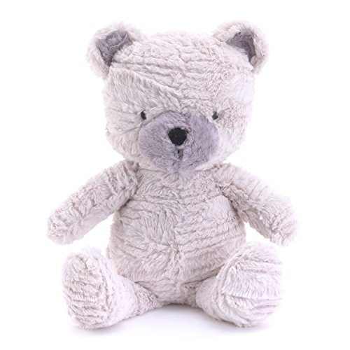 NoJo Play Day Pals Plush Teddy Bear, Ivory, Grey