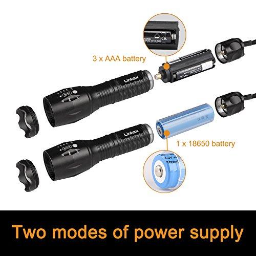 Waterproof Handheld Flashlight Torch LED With Adjustable Focus 3 X AAA Batteries