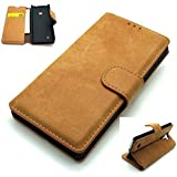 Nokia 530 Case Cover RETRO DISTRESSED SUEDE Leather Look Mobile Wallet Stand Cases By SUPRIZEBOX(TM) (TAN BROWN)