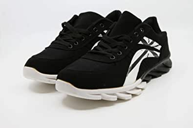 Men's black sneakers in white with a wide sole