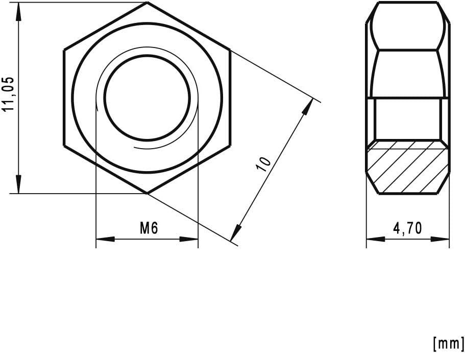 /écrous A2 M6 x 20 en acier inoxydable A2 Classe de r/ésistance 70 100 vis /à t/ête hexagonale