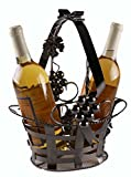 Premium Metal Ornate Gift Basket Wine Bottle Holder - Holds 2 Bottles