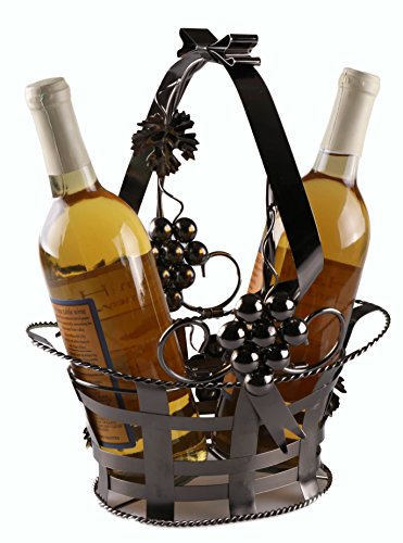 Wine Bottle Gift Holder by Clever Creations | Premium Metal Design Easily Fits 2 Bottles | Decorative Design | Great Gift Basket for Your Favorite Wine | Wide Stable Base | Grape Arbor Motif | Brown