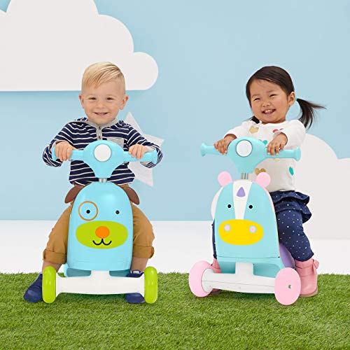 51dC94HfuOL - Skip Hop Kids 3-in-1 Ride On Scooter and Wagon Toy, Unicorn