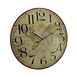Zeckos Map of The World Decorative Wooden Wall Clock