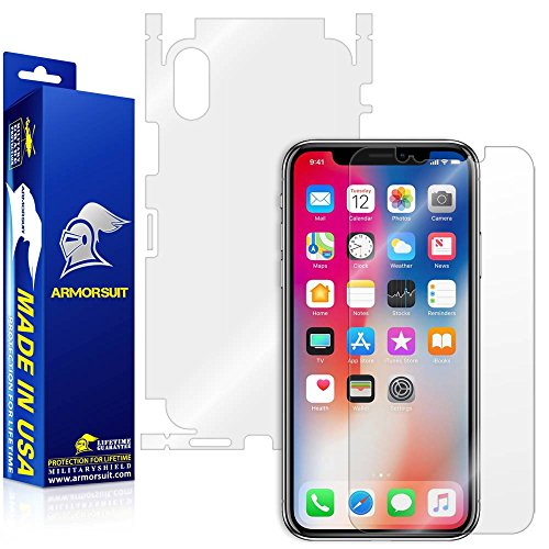 ArmorSuit Apple iPhone X Screen Protector + Full Body MilitaryShield Full Skin + Screen Protector Compatible with iPhone X - HD Clear Anti-Bubble
