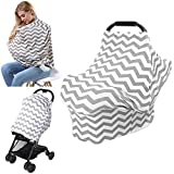 Nursing Cover AiKKiddo Baby Car Seat Canopy Multi-Use Breastfeeding Shopping Cart High-chair Strollers Covers Breathable Soft Cotton for Infants Girls and Boys Fashion Scarf for Moms (grey)