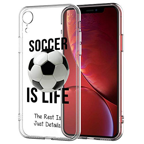 [InkModo] Clear Case for iPhone XR - Soccer is Life Soccer Quote Girls Teens Design Printed Unique Pattern Cover ()
