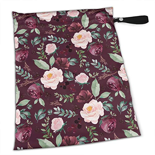 YyTiin Reusable Snack and Everything Bags - Wild at Heart Florals Dark Crimson,Large