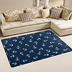 Yochoice Non-slip Area Rugs Home Decor, Vintage Retro Blue White Anchor Floor Mat Living Room Bedroom Carpets Doormats 60 x 39 inches