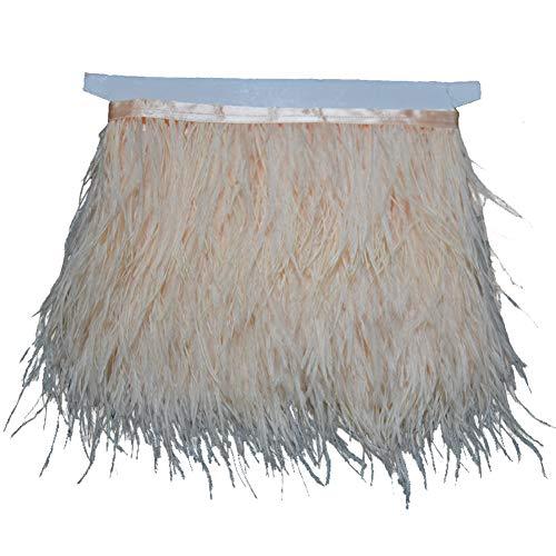 Diy Fringe Flapper Dress (KOLIGHT Pack of 5 Yards Natural Dyed Ostrich Feathers Trim Fringe 4~5inch for DIY Dress Sewing Crafts Costumes Decoration)