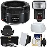 Canon EF 50mm f/1.8 STM Lens + Flash & Diffusers + 3 Filters + Hood Kit for EOS 6D, 70D, 7D, 5DS, 5D, Rebel T3, T3i, T5, T5i, T6i, T6s, SL1 Camera