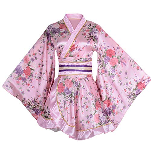 Kimono Bathrobe Costume Japanese Traditional Yukata Cosplay Women's Sexy Sakura Pattern (Pink) ()